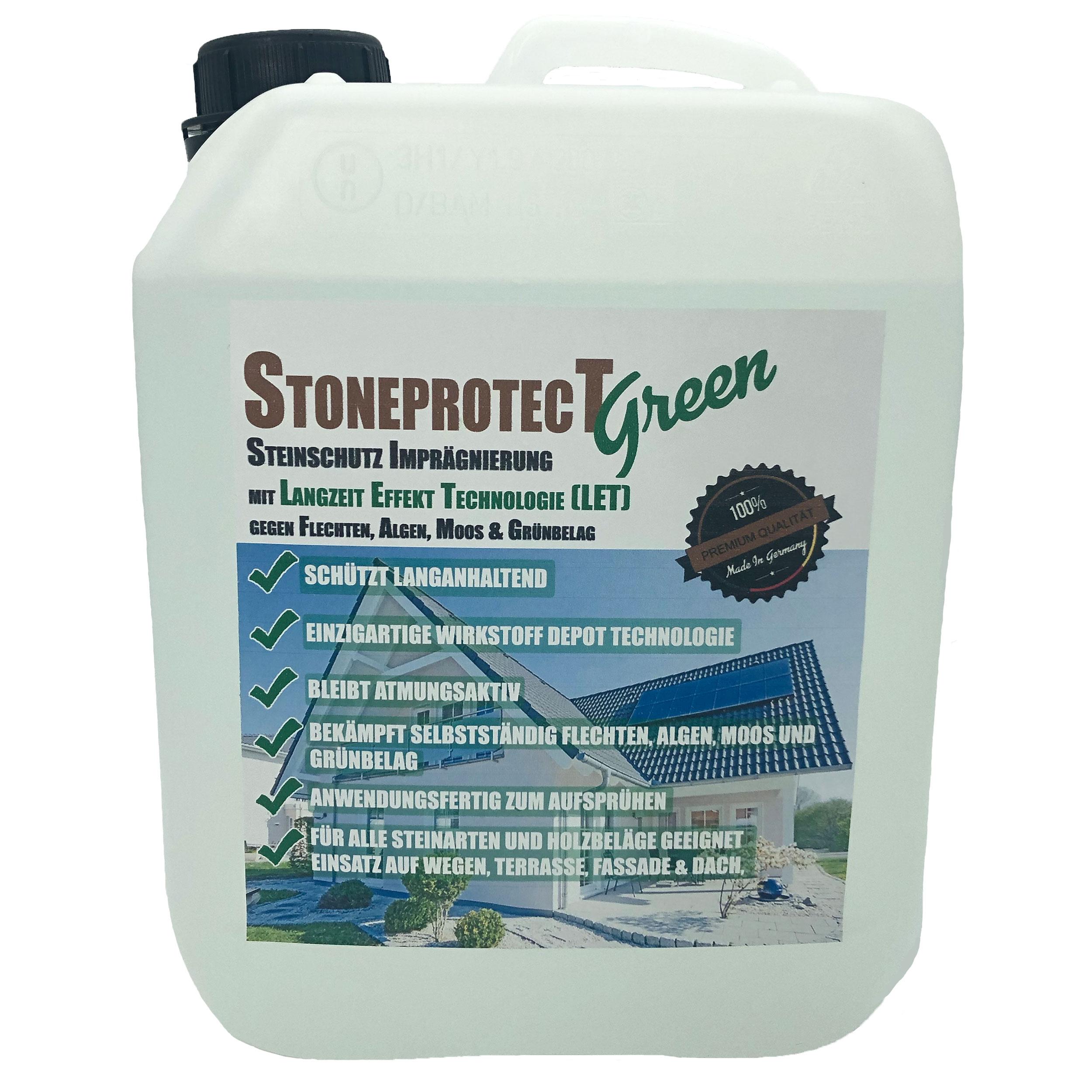 Testsieger Platz 1 Steinimprägnierung 2020 StoneprotecT SPGREEN mit aktivem langzeit Schutz vor Grünbelag, Moos, Algen, Flechten und Schimmerl für alle Stein und Holzarten